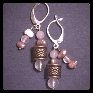 Whisper Pink Rose Quartz & Pearl Earring